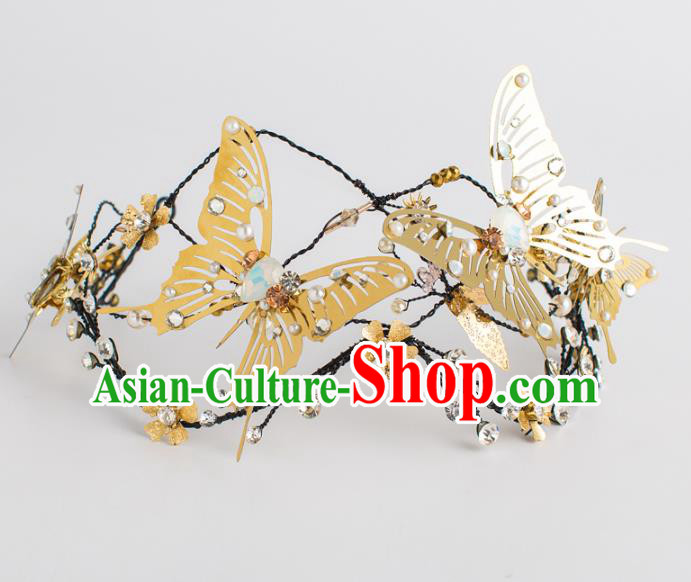 Top Grade Wedding Hair Accessories Bride Retro Golden Butterfly Royal Crown for Women