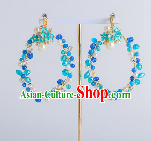 Top Grade Bride Wedding Ear Accessories Blue Earrings for Women
