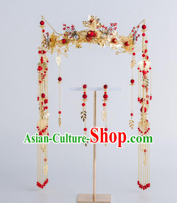Chinese Ancient Wedding Bride Phoenix Coronet Hair Accessories Traditional Hairpins for Women