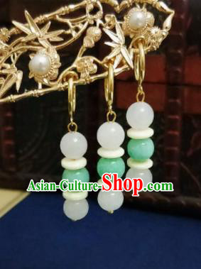 Chinese Ancient Green and White Beads Earrings Qing Dynasty Manchu Palace Lady Ear Accessories for Women