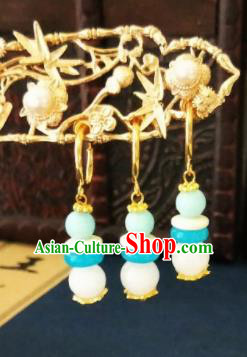 Chinese Ancient Three Strings Blue Beads Earrings Qing Dynasty Manchu Palace Lady Ear Accessories for Women