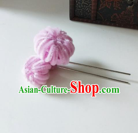Chinese Ancient Qing Dynasty Hair Accessories Pink Velvet Flower Hairpins for Women