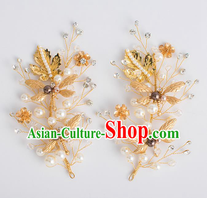 Top Grade Bride Wedding Hair Accessories Golden Dragonfly Hair Claws for Women