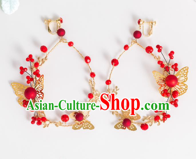 Top Grade Chinese Bride Wedding Accessories Red Beads Butterfly Earrings for Women