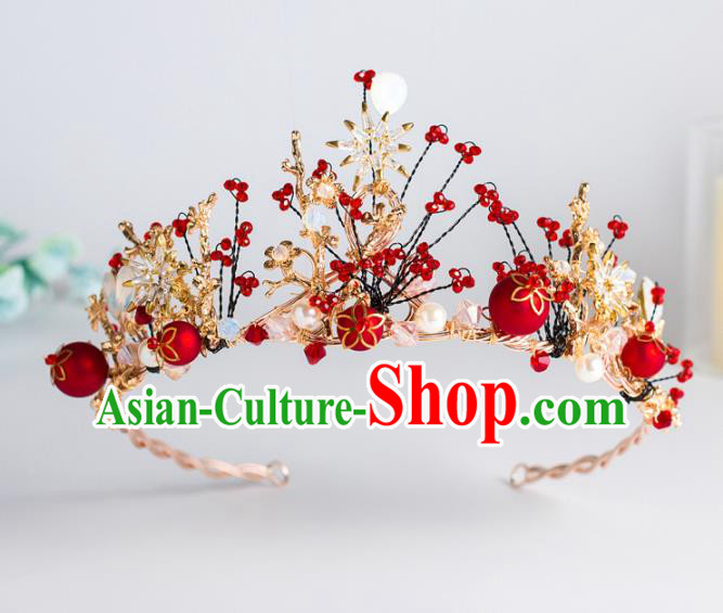 Top Grade Wedding Hair Accessories Baroque Princess Retro Red Beads Crystal Royal Crown for Women