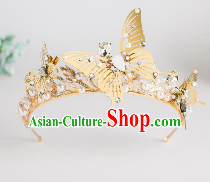 Top Grade Wedding Hair Accessories Baroque Princess Golden Butterfly Royal Crown for Women