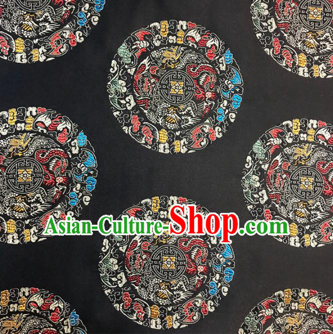 Asian Chinese Traditional Royal Pattern Black Brocade Fabric Silk Fabric Chinese Fabric Material