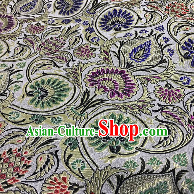 Asian Chinese Traditional Royal Pattern White Brocade Fabric Silk Fabric Chinese Fabric Material