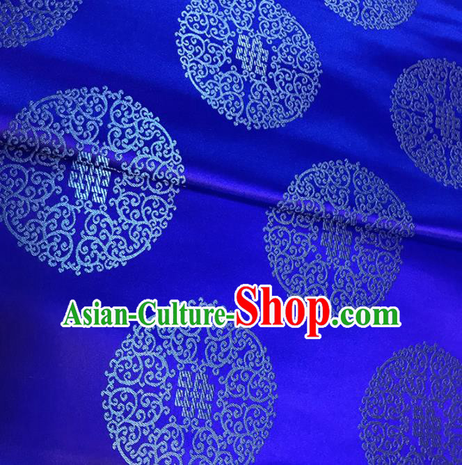 Asian Chinese Traditional Royal Pattern Blue Brocade Fabric Silk Fabric Chinese Fabric Material