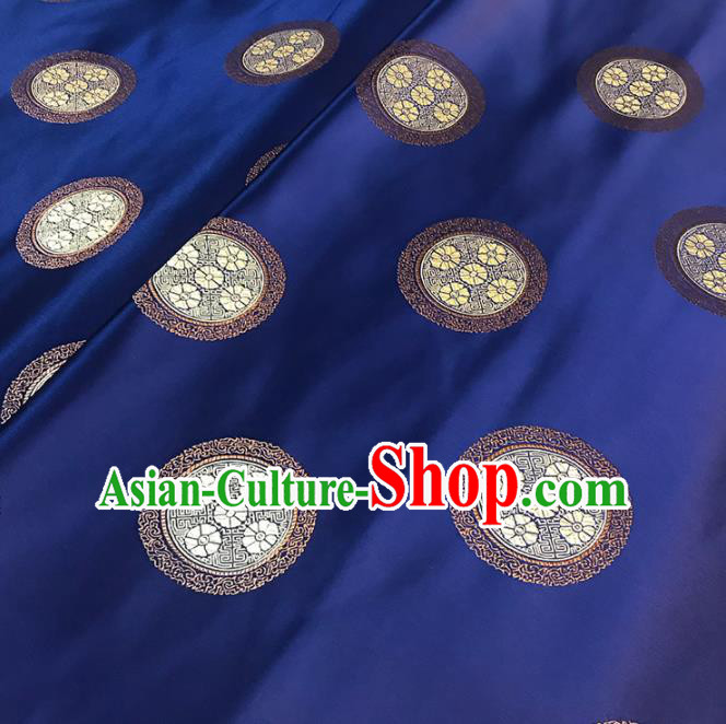 Asian Chinese Traditional Royal Pattern Navy Brocade Fabric Silk Fabric Chinese Fabric Material