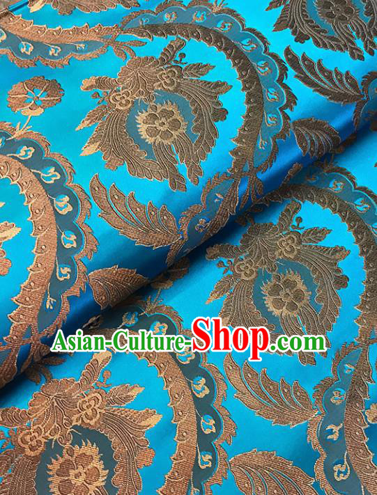 Blue Brocade Asian Chinese Traditional Palace Pattern Fabric Silk Fabric Chinese Fabric Material