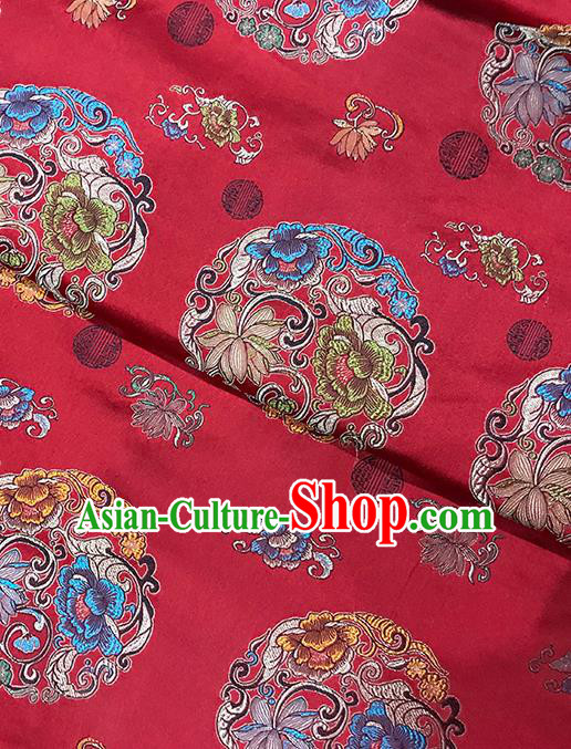 Red Brocade Asian Chinese Traditional Peony Pattern Fabric Silk Fabric Chinese Fabric Material