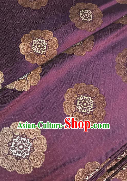 Asian Purple Brocade Chinese Traditional Pattern Fabric Silk Fabric Chinese Fabric Material