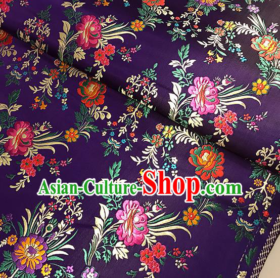 Asian Purple Brocade Chinese Traditional Begonia Pattern Fabric Silk Fabric Chinese Fabric Material