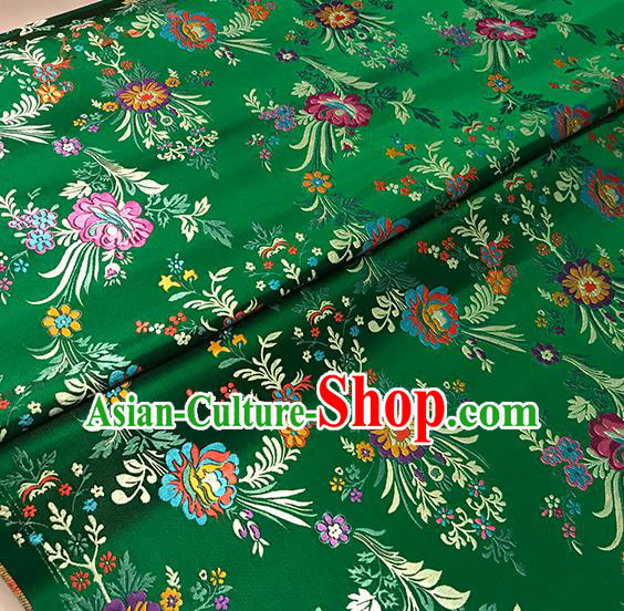 Asian Green Brocade Chinese Traditional Begonia Pattern Fabric Silk Fabric Chinese Fabric Material