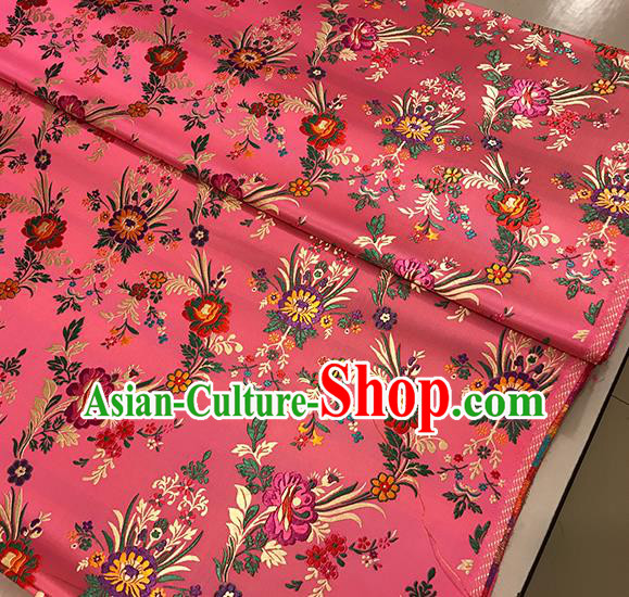 Asian Pink Brocade Chinese Traditional Begonia Pattern Fabric Silk Fabric Chinese Fabric Material