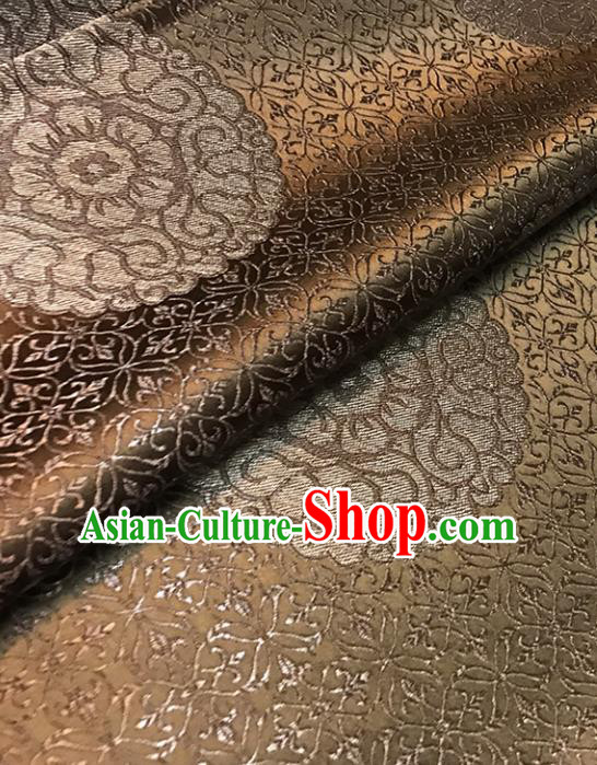 Asian Chinese Brown Brocade Traditional Pattern Fabric Silk Fabric Chinese Fabric Material