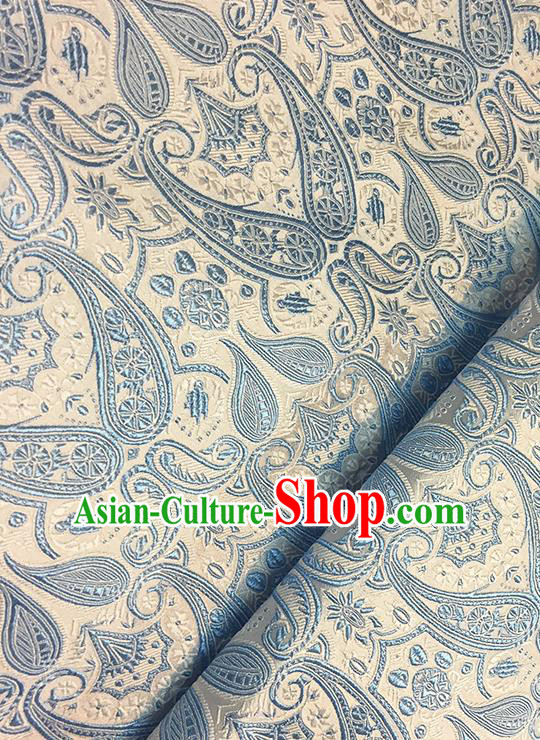 Asian Chinese Brocade Traditional Blue Pattern Fabric Silk Fabric Chinese Fabric Material