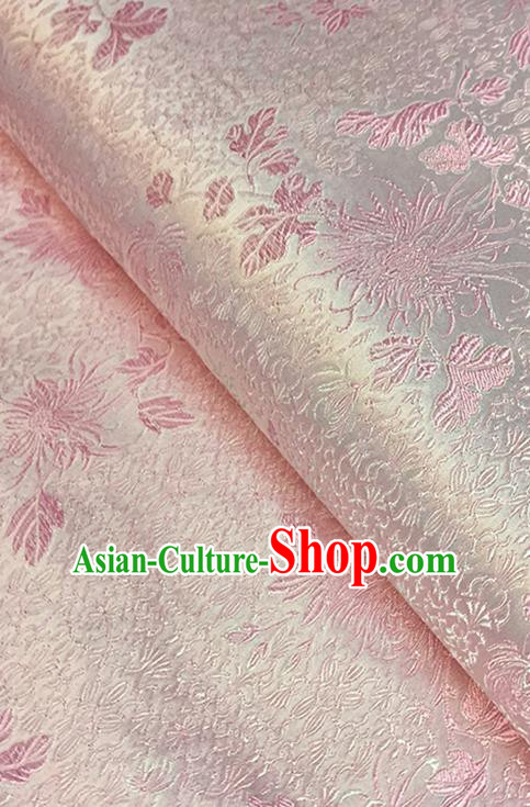 Asian Chinese Pink Brocade Traditional Chrysanthemum Pattern Fabric Silk Fabric Chinese Fabric Material