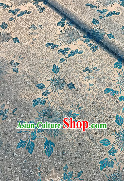 Asian Chinese Brocade Traditional Blue Chrysanthemum Pattern Fabric Silk Fabric Chinese Fabric Material