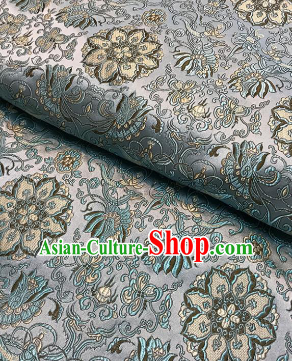 Asian Chinese Traditional Pattern Blue Brocade Fabric Silk Fabric Chinese Fabric Material