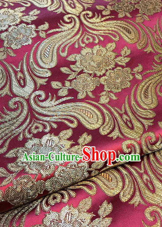Asian Chinese Wine Red Brocade Traditional Peony Pattern Fabric Silk Fabric Chinese Fabric Material