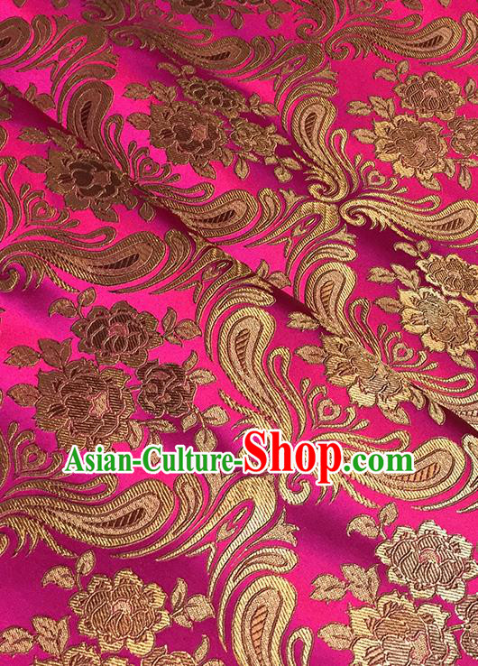 Asian Chinese Pink Brocade Traditional Peony Pattern Fabric Silk Fabric Chinese Fabric Material