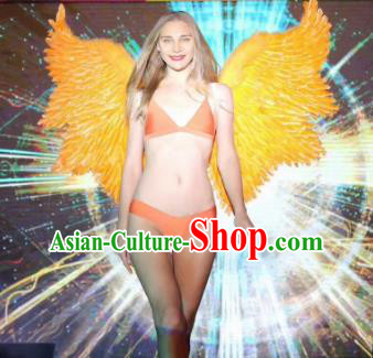 Stage Performance Brazilian Carnival Yellow Feather Wings Miami Deluxe Wings for Women