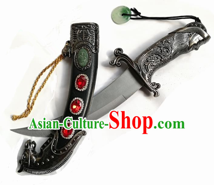 Chinese Traditional Beijing Opera Prop Diva Uyghur Nationality Black Dagger Swords