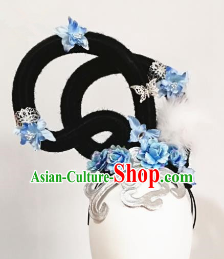 Chinese Traditional Beijing Opera Diva Hair Accessories Classical Dance Wig and Blue Flowers Headwear for Women