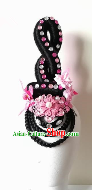 Chinese Traditional Beijing Opera Diva Hair Accessories Classical Dance Wig and Pink Flowers Headwear for Women