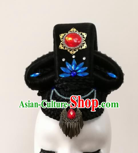 Chinese Traditional Folk Dance Hair Accessories Classical Dance Wig and Headwear for Women