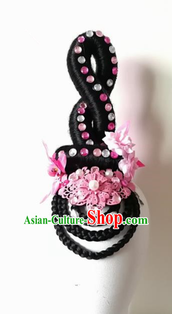 Chinese Traditional Classical Dance Pink Flower Hair Accessories Folk Dance Headwear and Wigs for Women