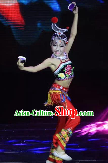 Chinese Traditional Folk Dance Costume Classical Dance Ethnic Clothing for Kids