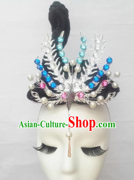 Chinese Traditional Classical Dance Hair Accessories Folk Dance Wig and Phoenix Headwear for Women