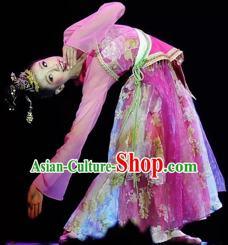 Chinese Traditional Flying Peri Folk Dance Costume Classical Dance Purple Dress for Women