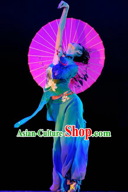Chinese Traditional Folk Dance Green Costume Classical Dance Clothing for Women