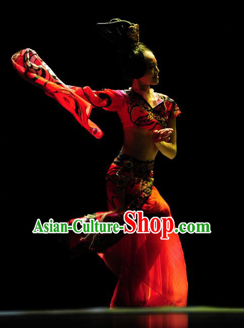 Chinese Traditional Folk Dance Red Costume Classical Dance Clothing for Women