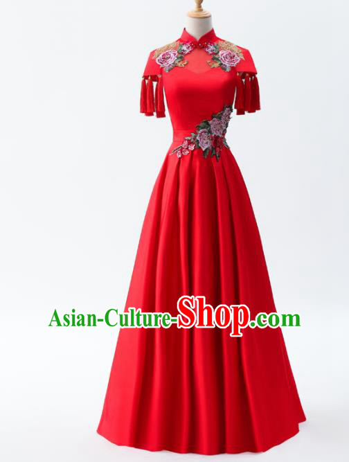 Chinese Traditional National Cheongsam Compere Chorus Costume Red Full Dress for Women