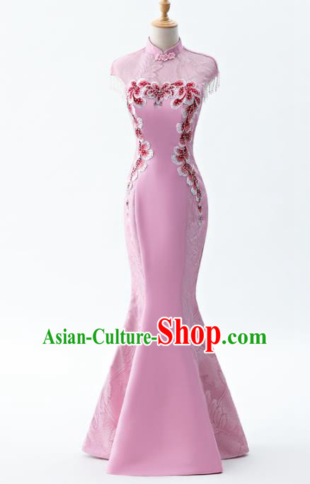 Chinese Traditional National Wedding Cheongsam Compere Chorus Costume Pink Full Dress for Women