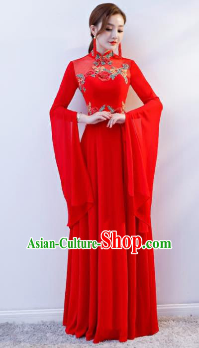 Chinese Traditional National Wedding Red Cheongsam Compere Chorus Costume Full Dress for Women