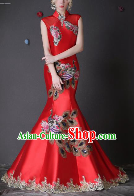 Chinese Traditional Compere Red Full Dress Embroidered Phoenix Cheongsam Chorus Costume for Women