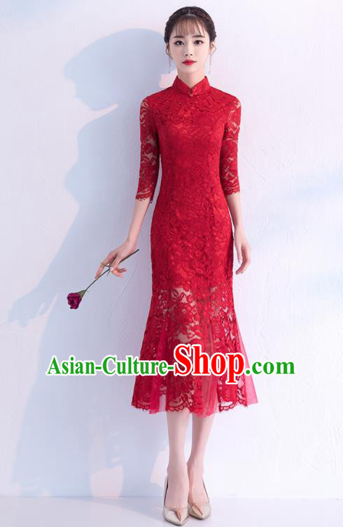 Chinese Traditional Wedding Full Dress Wine Red Lace Cheongsam Compere Costume for Women