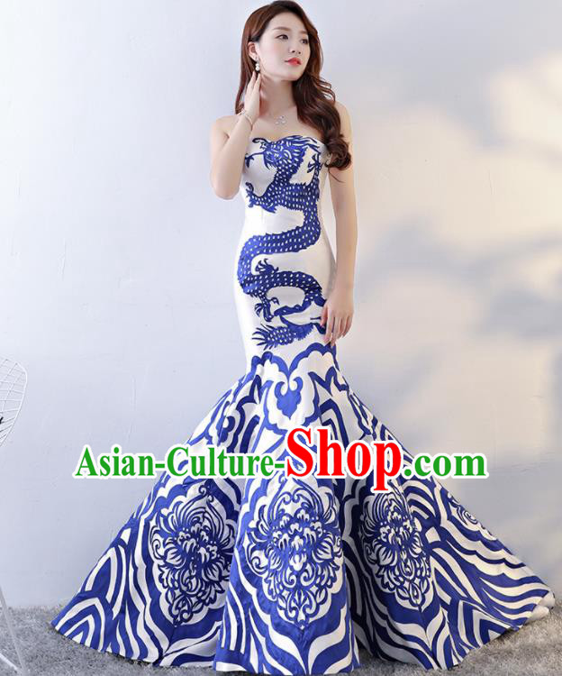 Chinese Traditional Qipao Dress Printing Dragon Trailing Cheongsam Compere Costume for Women