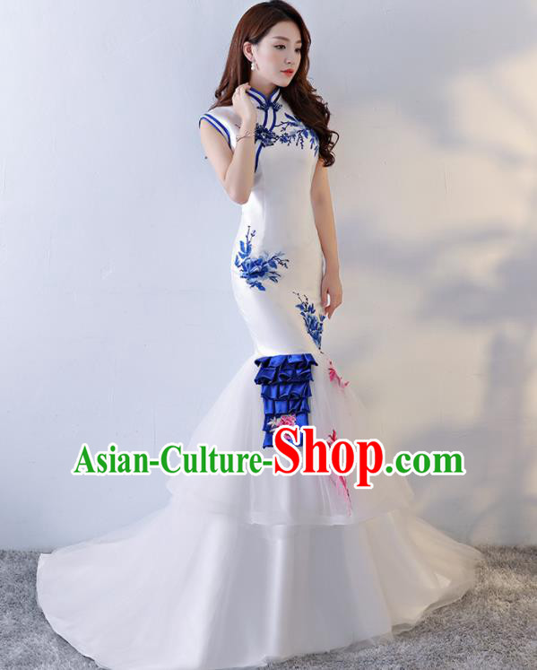 Chinese Traditional Qipao Dress White Veil Trailing Cheongsam Compere Costume for Women