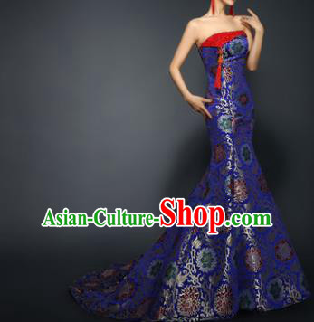 Chinese Traditional Qipao Dress Royalblue Trailing Cheongsam Compere Costume for Women