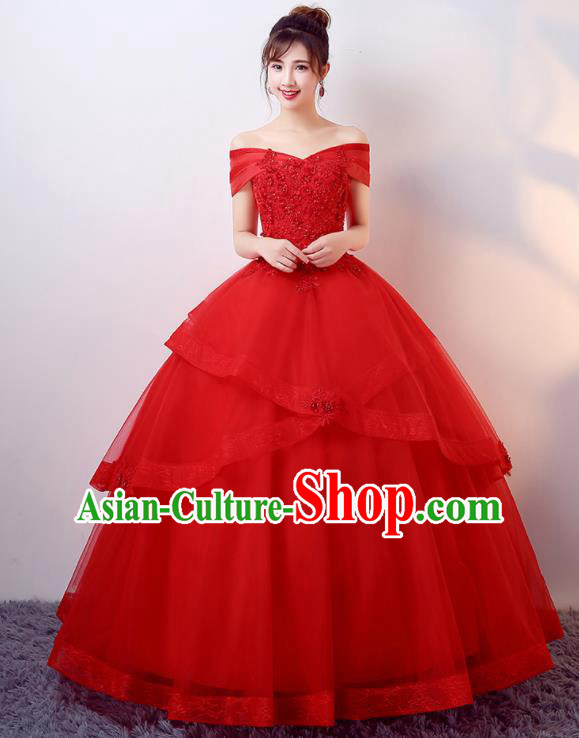 Top Grade Wedding Red Veil Dress Compere Costume for Women