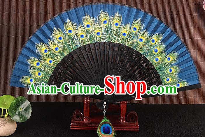 Chinese Traditional Craft Printing Peacock Feather Folding Fans
