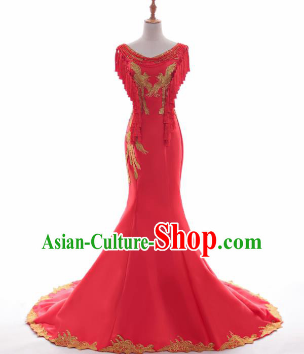 Chinese Traditional Embroidered Phoenix Wedding Red Full Dress Compere Chorus Costume for Women