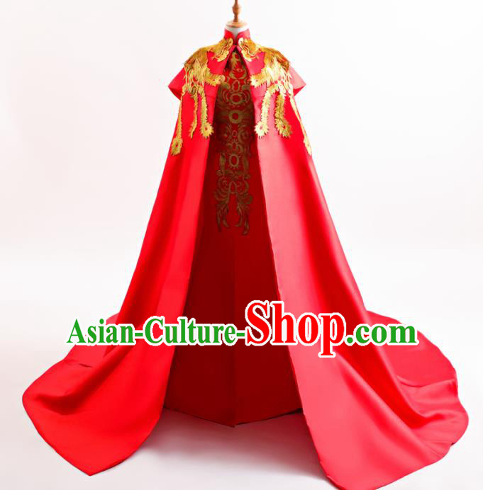 Chinese Traditional Cheongsam Wedding Red Full Dress Compere Chorus Costume for Women